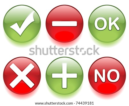 Check mark, Ok and No, positive and negative icon. EPS 8. - stock vector