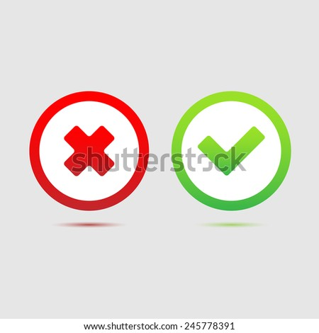 Check mark okand cancel icon great for any use. Vector EPS10. - stock vector