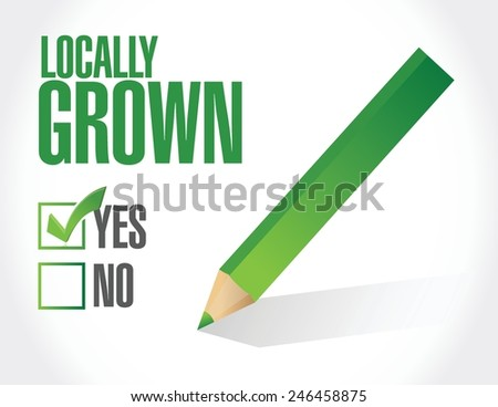 check mark on locally grown illustration design over a white background - stock vector