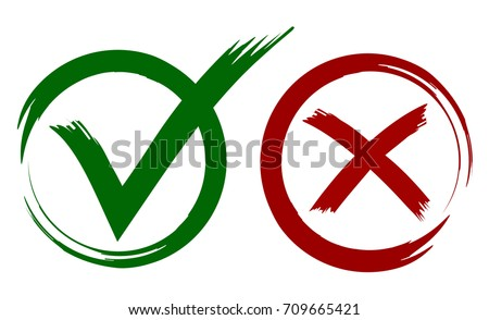 Check Mark Painted With Brush In Red And Green Colors Circle Shape Grunge Style Design
