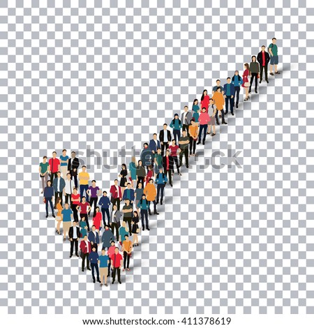 check mark people sign 3d - stock vector