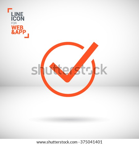 Check mark sign icon. Tick Okay Accept Valid icon button. Check confirm icon. Tick in circle sign. Ok Good Tick check list icon. - stock vector