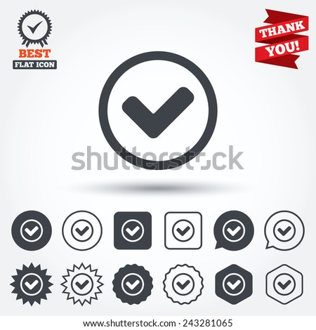 Check mark sign icon. Yes circle symbol. Confirm approved. Circle, star, speech bubble and square buttons. Award medal with check mark. Thank you ribbon. Vector - stock vector