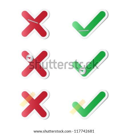 Check mark stickers - stock vector