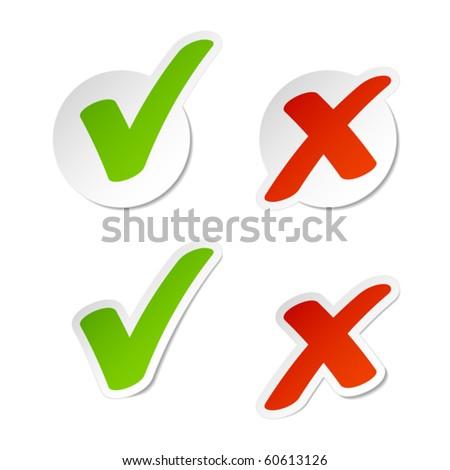 Check mark stickers. Vector. - stock vector