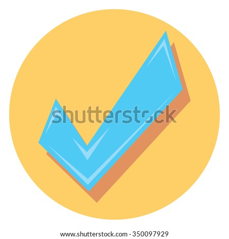 check mark symbol circle icon with shadow - stock vector