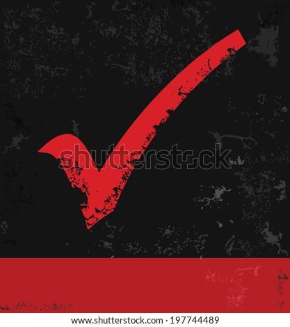 Check mark symbol,grunge vector - stock vector