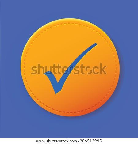 Check mark symbol on yellow button,vector - stock vector