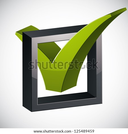 Check mark tick3d vector icon isolated on white background, vote symbol. - stock vector