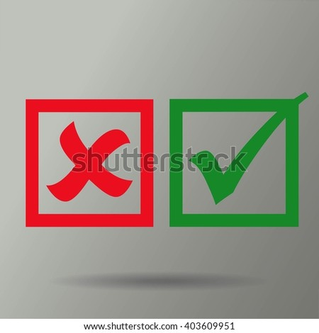 check mark, tick, yes, no, vote icon