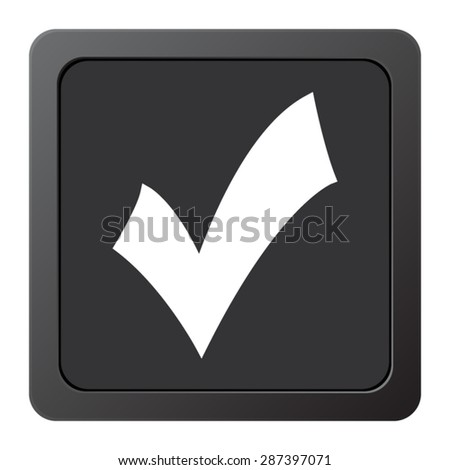 check mark, tick, yes, vote - vector icon, on a grey button
