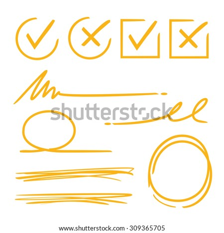check mark, underline, marker circle - stock vector