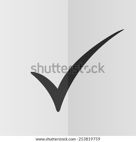 Check mark vector icon. Effect of folded paper. Flat design - stock vector