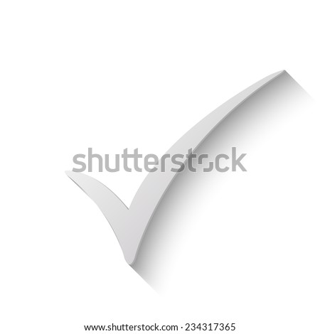 check mark vector icon - paper illustration  - stock vector