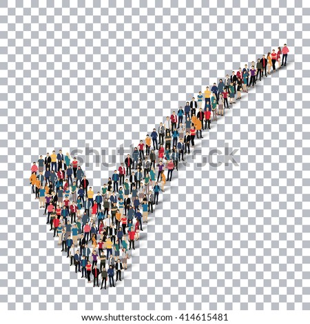 check mark vote   people   3d - stock vector