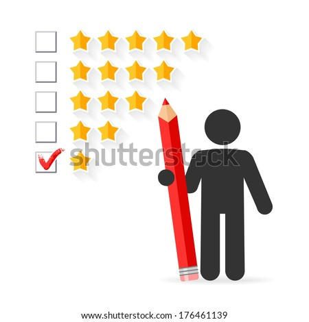 Check mark with red pencil on five star rating  - stock vector