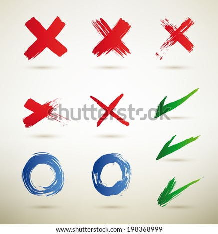 Check-mark, x, - Illustration. set of grungy check-marks,true,false. - stock vector