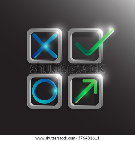 Check mark, yes and no symbol with light. Vector illustration - stock vector