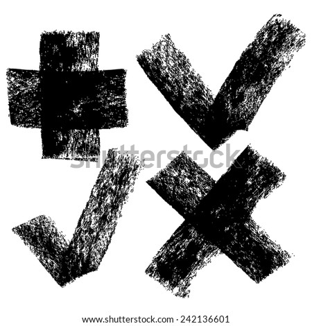 Check marks and cross set, freehand artistic style, painterly hand drawn symbols, vector, isolated - stock vector