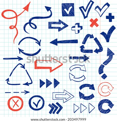 Check marks, check boxes and arrows drawn with chalk in a doodled style on squared notebook paper background. - stock vector