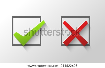 Check marks in boxes conceptual of confirmation acceptance positive passed voting agreement true or completion of tasks on a list - stock vector