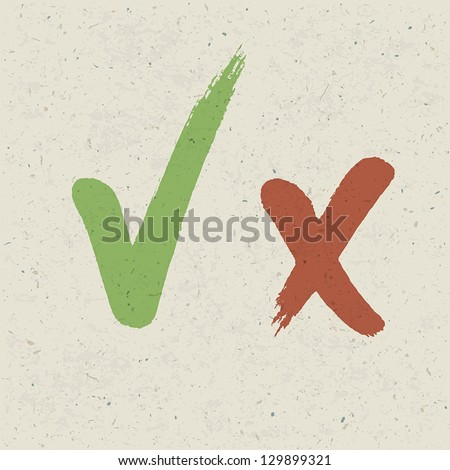 Check marks on paper texture. Vector, EPS10 - stock vector