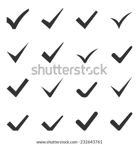 Check Marks or Ticks. Set of Sixteen Icons. Vector. - stock vector