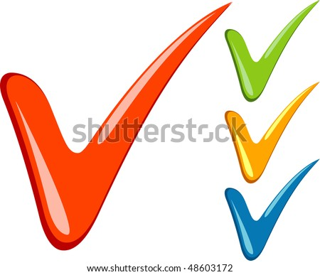 Check-marks over white - stock vector