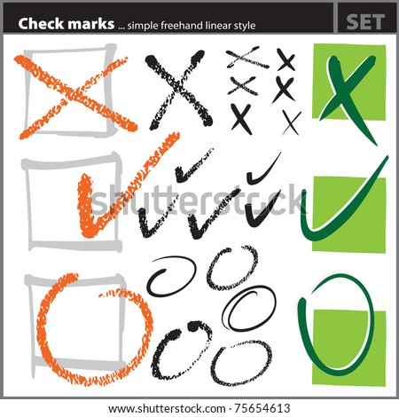Check marks set (freehand artistic style), painterly handdrawn symbols, vector, isolated - stock vector