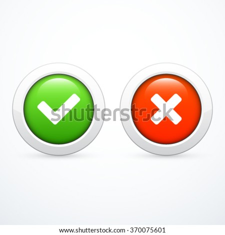 Check marks. Tick and cross. - stock vector
