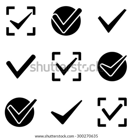 Check marks web and mobile logo icons collection isolated on white back. Vector symbols of ticks conceptual of confirmation acceptance positive passed voting agreement true or completion of tasks - stock vector