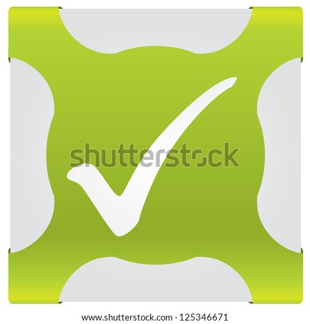 Check symbol on corner ribbon with white background - stock vector