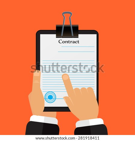 Check the contract his hands in a flat style vector - stock vector