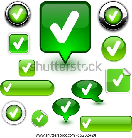 Check vector glossy icons. - stock vector