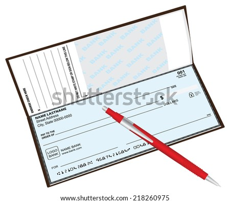 Checkbook with a ballpoint pen red. Vector illustration. - stock vector
