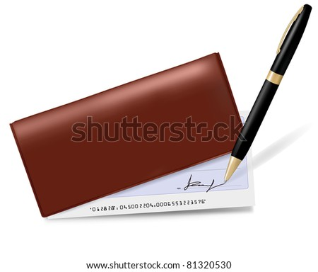 Checkbook with check and pen. Vector illustration. - stock vector