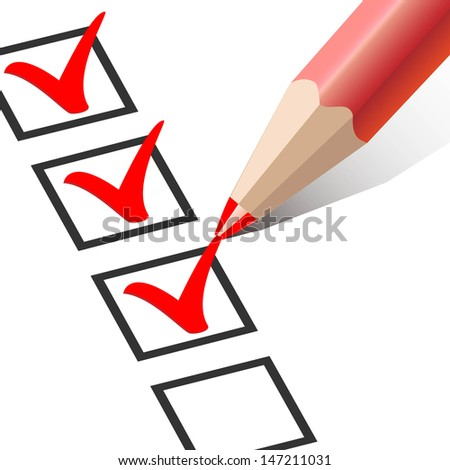 checkbox with a red pencil - stock vector