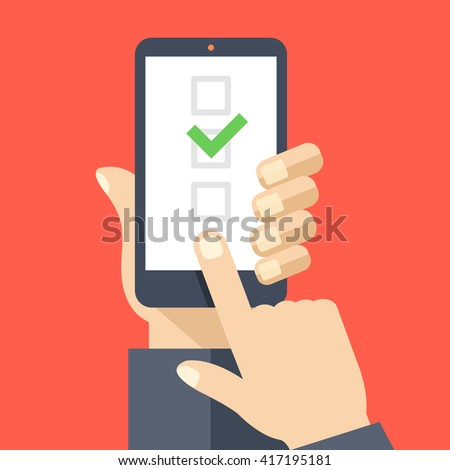Checkboxes on smartphone screen. Hand hold smartphone, finger touch screen. Checkboxes and checkmark. Modern concept for web banners, web sites, infographics. Creative flat design vector illustration - stock vector