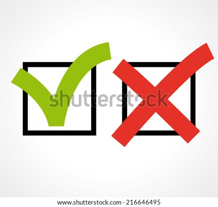Checkboxes. Right or wrong choice, satisfaction test or exam form. Vector illustration. - stock vector