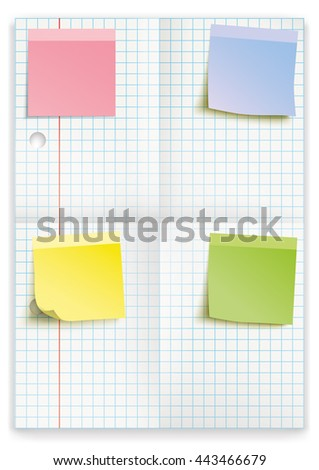 Checked and folded school paper with colored sticks on the white. Eps 10 vector file.  - stock vector