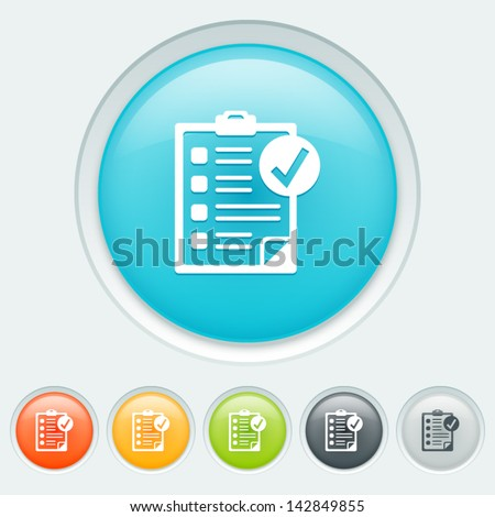 Checked button in six colors: blue, orange, yellow, green, black and white - stock vector