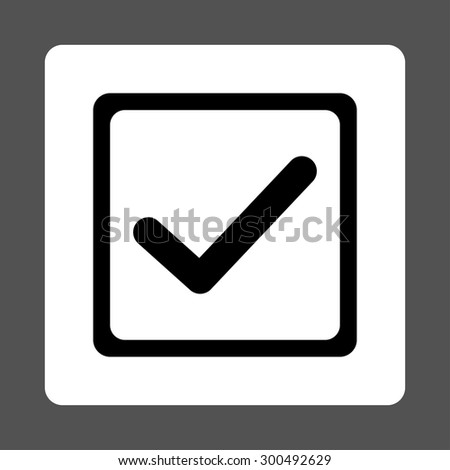 Checked checkbox icon. This flat rounded square button uses black and white colors and isolated on a gray background. - stock vector