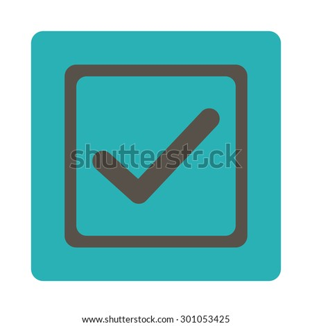 Checked checkbox icon. This flat rounded square button uses grey and cyan colors and isolated on a white background. - stock vector