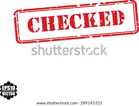 Checked red grunge stamp isolated on white background.Vector - stock vector