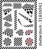 Checker, Race Flag, Chessboard, Dart board various designs, frame - stock photo