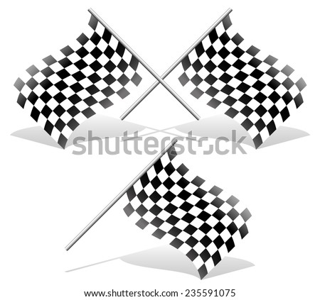 Checkered and single racing flags with shadows. Checkered racing flags. - stock vector