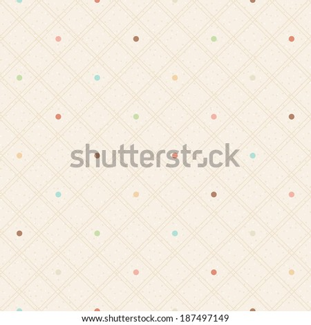 Checkered color seamless textured polka dots pattern - stock vector