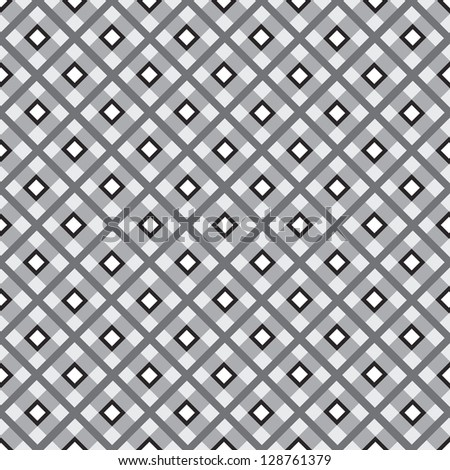 Checkered cotton fabric seamless pattern. Black and white seamless background. - stock vector