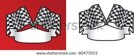 checkered cross finishing line racing flags on background with scroll space for message - stock vector