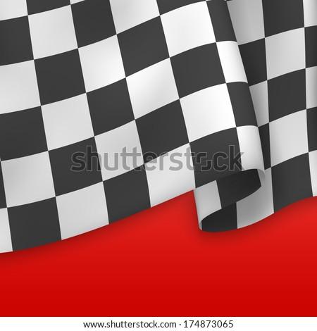 Checkered Flag Background. Card Template. Vector - stock vector
